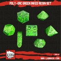 Poly-Orcs Green Inked Resin set of 7 dice