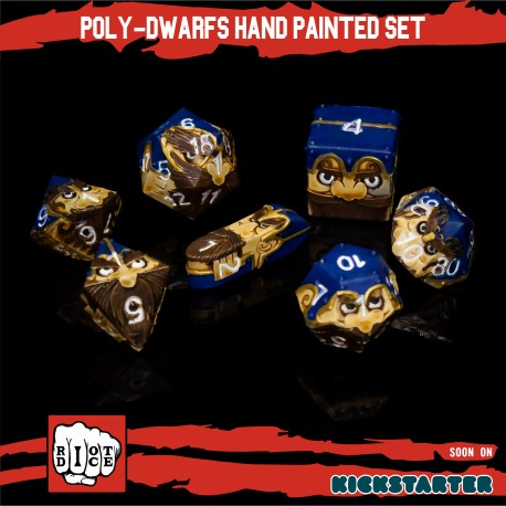 Poly-Dwarfs Hand Painted set of 8